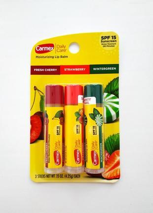 Carmex бальзам для губ кармекс daily care stick with spf 15 вишня клубника мята