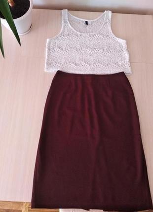 Шикарная офисная бордовая юбка- миди,стрейч,р.46, италия .