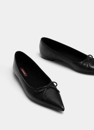 Новые кожаные туфли балетки uterque натуральная кожа низкий ход