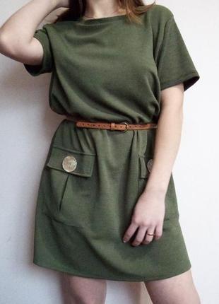 Плаття zara/ свободное платье оверсайс/ хаки/ с карманами/ можно для беременных