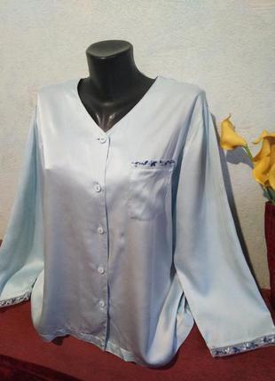 Натуральный шелк, домашняя одежда, рубашечка с декором, a&p