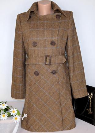 Коричневое демисезонное пальто с поясом и карманами new look турция шерсть
