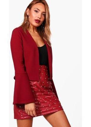 Брендовый бордовый  тонкий пиджак жакет блейзер накидка boohoo великобритания рукав волан