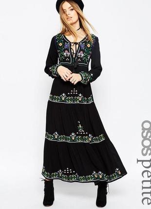 Новое с биркой! asos premium коллекция крутое платье с вышивкой , вискоза размер 38-40