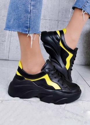 Крутые кроссовки из натуральной кожи lux качества чёрного цвета на платформе