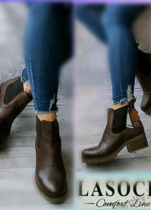 37-38р кожа новые lasocki на флисе кожаные  ботинки челси,утеплены