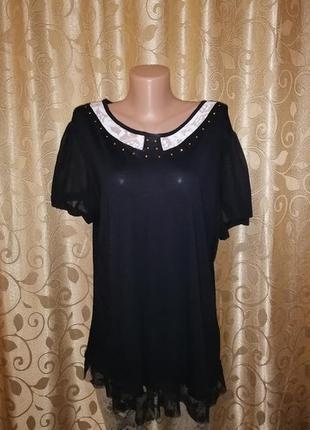 🌺🎀🌺красивая женская черная блузка, футболка, кофта с коротким рукавом 18 р. atmosphere🔥🔥🔥