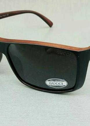 Gucci очки мужские солнцезащитные черные поляризированые черно коричневые