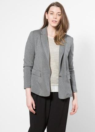 Брендовый серый пиджак жакет с карманами next вышивка паетки бисер большой размер