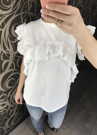 Красивая/блуза/рюши/l/m
