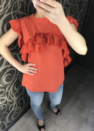 Красивая/блуза/рюши/м/l/
