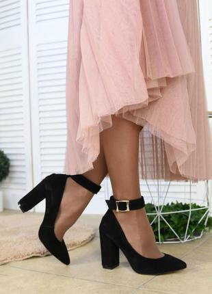 Туфли черные с застежкой на устойчивом каблуке натуральная кожа или замш