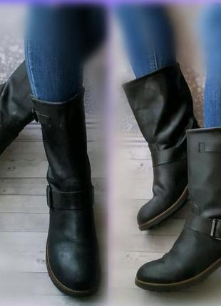 41р кожа германия кожаные сапоги,полусапожки в стиле милитари