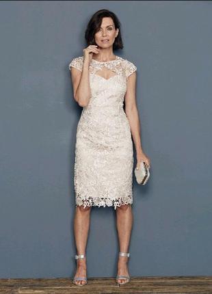 Кружевное пудровое платье joanna hope  р.14 eu 42 наш 48