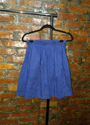 Хлопковая юбка из коттона в мелкий горох