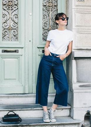 Джинсы джинси  кюлоты кюлоти синие высокая талия высокое качественные новые