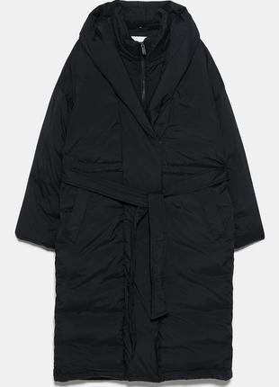 Непромокаючий оверсайз пуховик / куртка / плащ / пальто з поясом zara - s2 фото