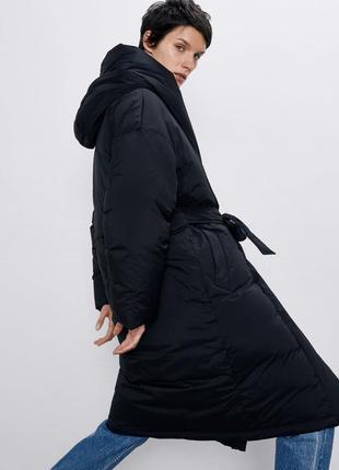 Непромокаючий оверсайз пуховик / куртка / плащ / пальто з поясом zara - s3 фото