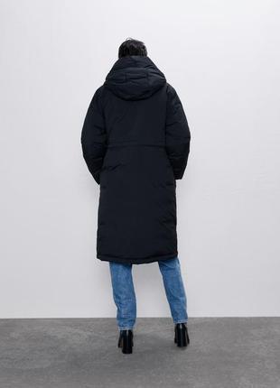 Непромокаючий оверсайз пуховик / куртка / плащ / пальто з поясом zara - s4 фото