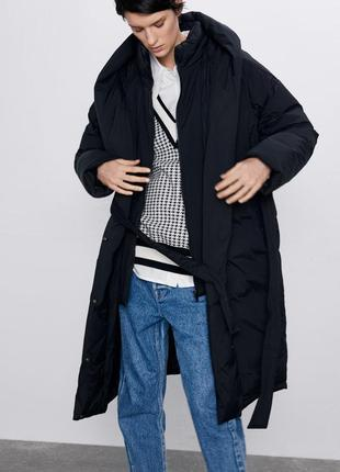 Непромокаючий оверсайз пуховик / куртка / плащ / пальто з поясом zara - s5 фото