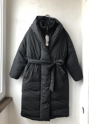 Непромокаючий оверсайз пуховик / куртка / плащ / пальто з поясом zara - s6 фото