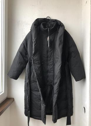 Непромокаючий оверсайз пуховик / куртка / плащ / пальто з поясом zara - s7 фото