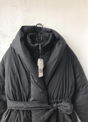 Непромокаючий оверсайз пуховик / куртка / плащ / пальто з поясом zara - s10 фото