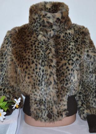 Брендовая леопардовая демисезонная меховая короткая куртка на молнии bay акрил