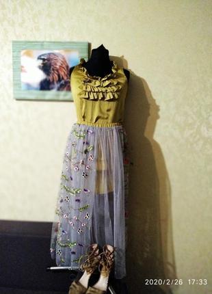 Шикарный дизайнерский костюм с юбкой миди цветочный принт сетка