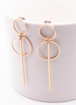 Серьги серёжки геометричные золото кольца удлиненные