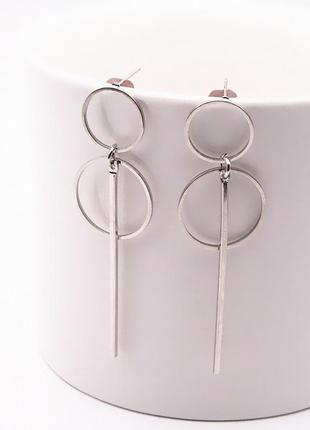 Серьги серёжки геометричные серебро метал кольца удлиненные новые