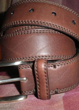 Прошитый классический ремень schughard & friese под джинсы, мягкая кожа 105см германия