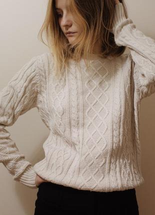 """Базовый молочный свитер с косами """"bodyguard denim&apparel"""", размер s"""