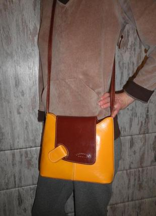 Модная яркая качественная сумка кроссбоди l artigiano натуральная кожа качество италия
