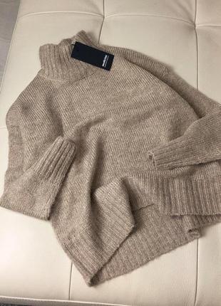Базовый нюдовый/кофейный мягкий шерстяной свитер/джемпер medicine s-m скидка!