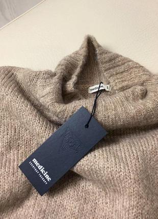 Базовый нюдовый/кофейный мягкий шерстяной свитер/джемпер medicine s-m скидка!2 фото