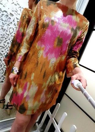 Платье h&м оригинал яркое крутое блестящее роскошное нарядное пайетки эксклюзив