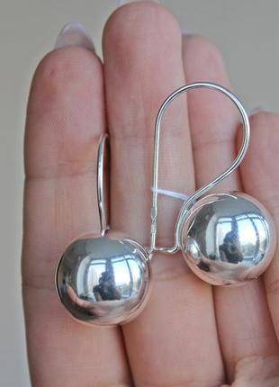 Серебряные серьги шарики 19 мм