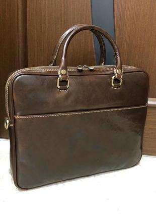 Шкіряна сумка сумка под ноутбук из натуральной кожи италия сумка для документов