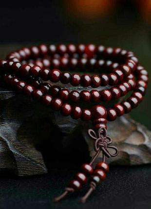 Стильный браслет-четки из сандалового дерева, деревянные