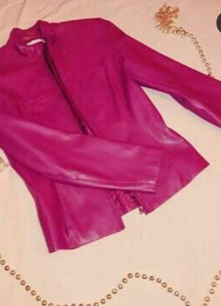Куртка из эко-кожи цвета фуксия