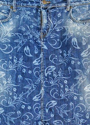 Стильная джинсовая юбка revolution skirt leaf с растительным узором и милыми птицами