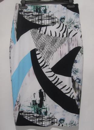 Эффектная юбка-карандаш с принтом в стиле пэчворк river island, uk 10