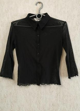 Стильная укороченная прозрачная рубашка бренда topshop