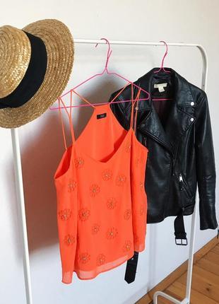 Блуза под шифон с бисером майка двухслойная от f&f. р-р 14/42