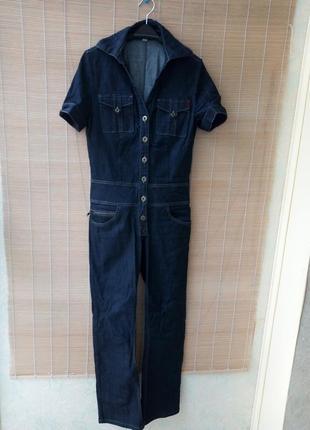 Трендовый джинсовый комбинезон, брюки клеш