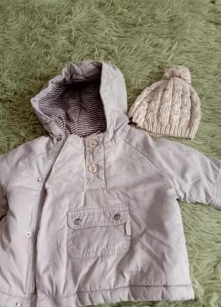 Демисезонная куртка анорак 2-7мес на тонком синтепоне