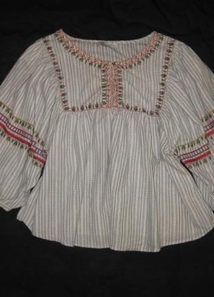 Размер s-m, блузка zara хлопковая с вышивкой вышиванка
