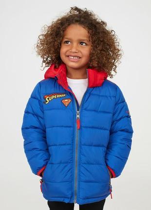Куртка утепленная 98 104 110 116 134 140 см hm на весну и осень superman супермен