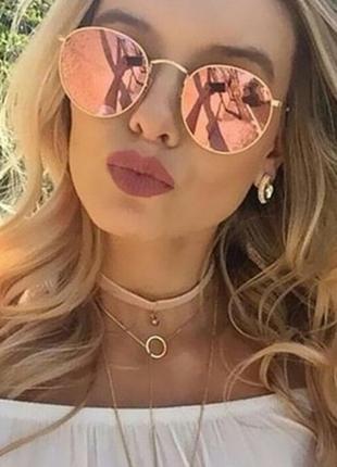 Модные солнцезащитные очки круглой формы 3 цвета